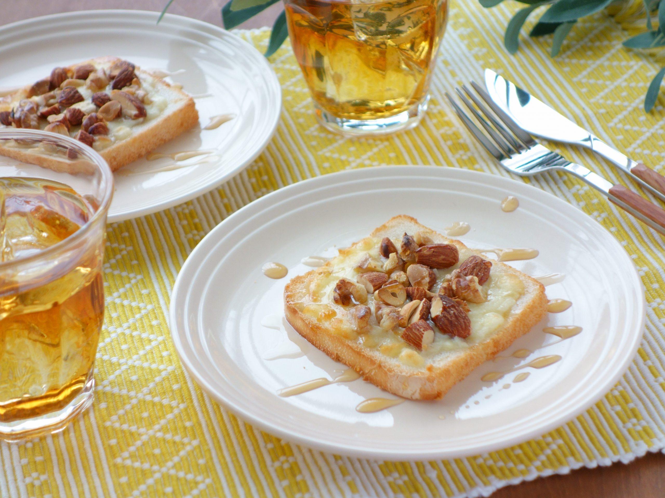 米粉パンで作る朝ごはん・おやつレシピ『チーズとナッツのトースト 』