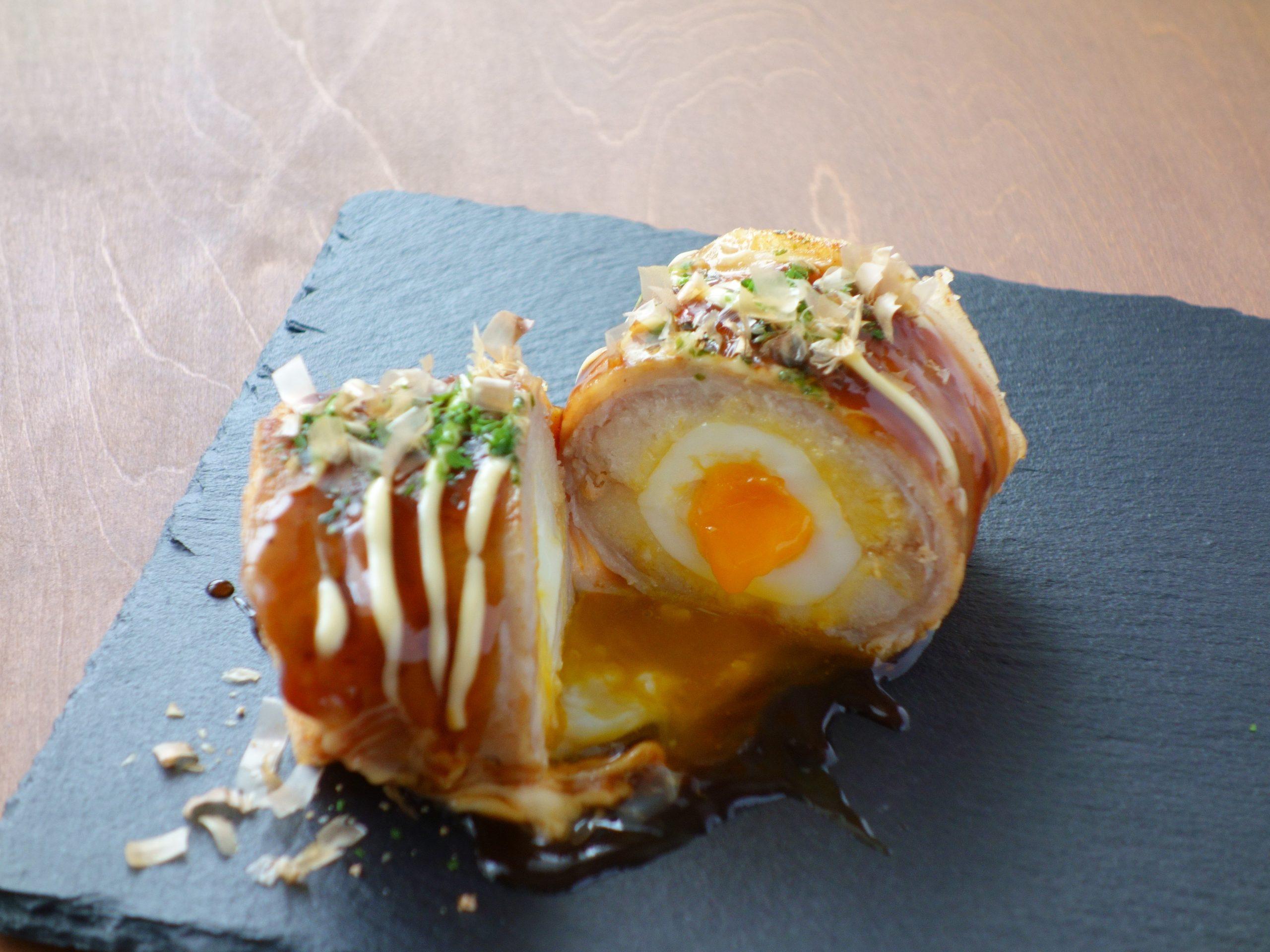 米粉パンの満足レシピ『もちもち豚玉ロール 』