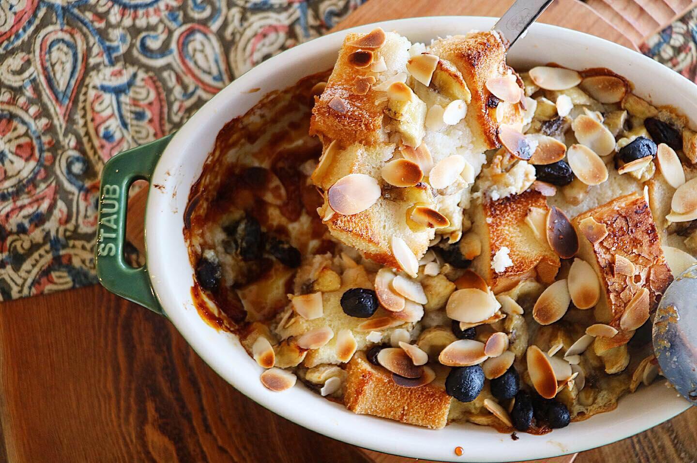 米粉パンで作るグルテンフリーおやつ「豆乳バナナパンプディング」